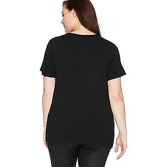 Daily Ritual Women's Plus Size Jersey Short-Sleeve Scoop Neck Shirt, 2X, Black