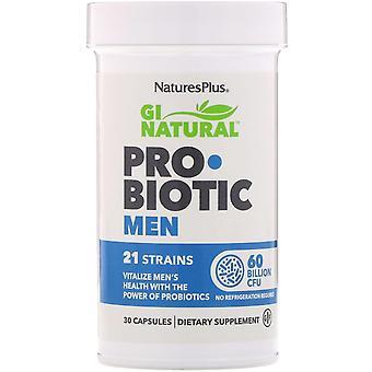 Nature's Plus, GI Natural, Hombres probióticos, 60 mil millones de UFC, 30 cápsulas