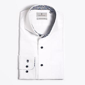 Thomas Maine  - Abstract Trim Insert Shirt - White