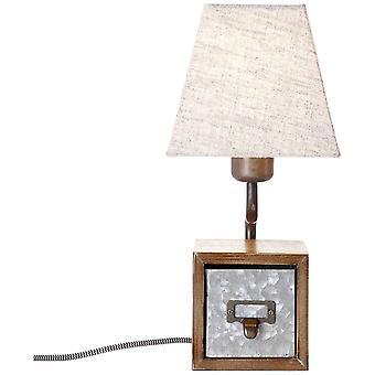 Luz BRILLIANT Lámpara de mesa ataúd de zinc antiguo/beige ? 1x A60, E27, 25W, adecuado para lámparas normales (no incluidas) Escala