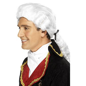 Colonial Wig White Rolls Court Judge Barrister Fancy Dress