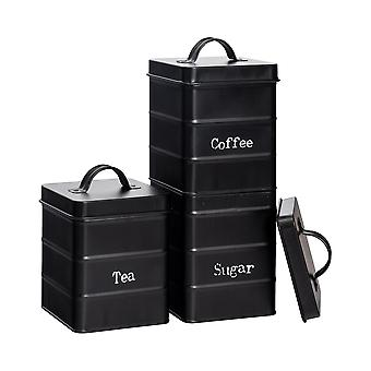 3 Peça Industrial Tea Coffee Coffee Sugar Canister Set - Vintage Style Steel Kitchen Storage Caddy with Lid - Preto