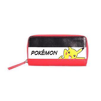Pokemon Pikachu Striped Tri-colour Zip-Around Wallet Purse Female Multi-colour