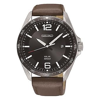 Mens Analogue Solar Powered Watch with Leather Strap (Model No. SNE487P1)