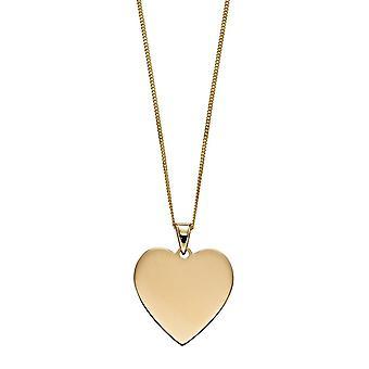 عناصر الذهب 9ct القلب قابل للنقش قلادة القرص GP2237