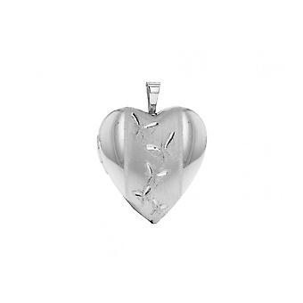 "Eternity Sterling Silver Medium Heart Butterfly Pattern Locket And 18"" Chain"