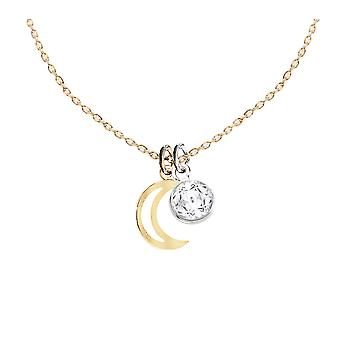 Ah! Jewellery 24K Gold Vermeil Over Sterling Silver Crescent Moon Pendant Two Tone Necklace With A 6mm Clear Dangle