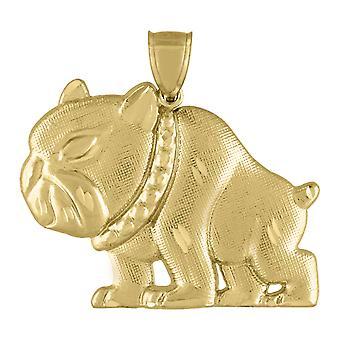 10k Sárga Arany Férfi Csillogás Cut Bulldog Animal Charm Medál Nyaklánc intézkedések 41.7x45.70mm Széles Ékszer Ajándékok férfiaknak