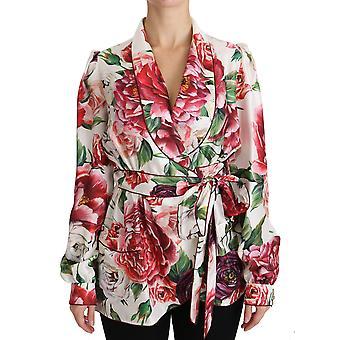 White Floral Sleepwear Blouse Top Robe