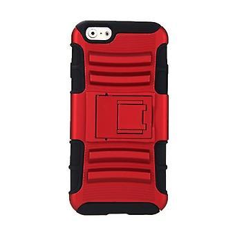 iPhone 6 4.7'デュアルレイヤーシリコーン&PCバックケース保護シェルカバー(スタンドレッド付)