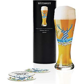 RITZENHOFF Dominique Days Crystal Wheat Beer Glass 500ml with Five Beer Mats