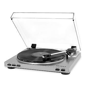 Victrola pro automaattinen hihnaveto levysoitin vinyyli-mp3 usb-tallennus, hopea valkoinen