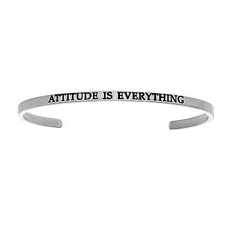 """Intuitions Stainless Steel ATTITUDE IS EVERYTHING Diamond Accent Cuff  Bangle Bracelet, 7"""""""