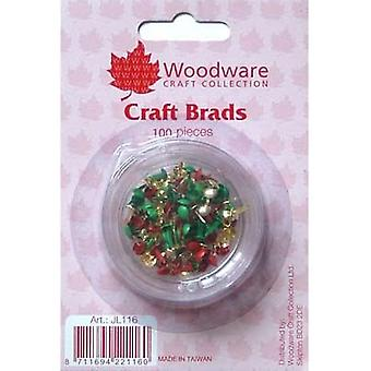 Woodware Christmas Craft Brads – 100 kappaletta