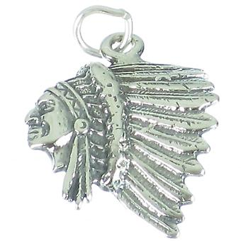 Native American Red Indian Chief Sterlng Silver 2d Charm Pendant .925 X1 - 2605