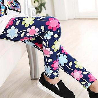 Pehmeä leggingsit, lyijykynähousut kukka painatus set-2