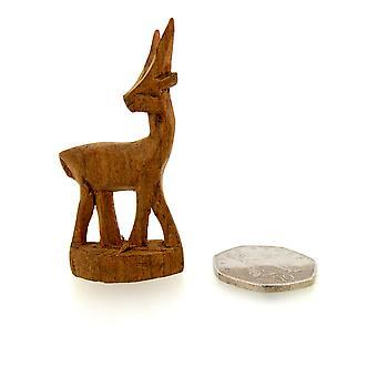 المصنوعة يدويا خشبية دائمة الظباء التمثال – 4 سم