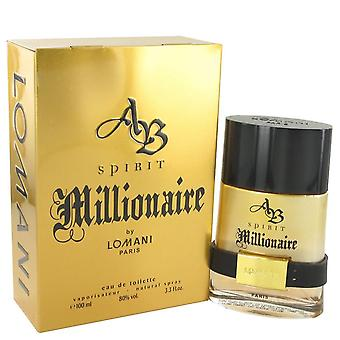 Spirit Millionaire Eau De Toilette Spray By Lomani 3.3 oz Eau De Toilette Spray