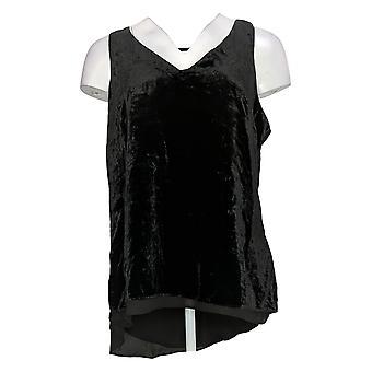 Lisa Rinna Collection Women's Top Velvet Tank w/ Chiffon Trim Black A345879