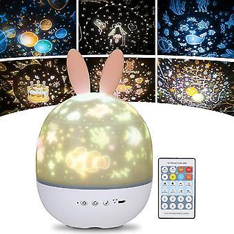 Kids Night Light Star Lamp Projektor, 360 ° Musical Rotation Night Light + Timer + Fjernbetjening + 6 farver, LED Baby Starry Sky Night Light til fødselsdag, jul