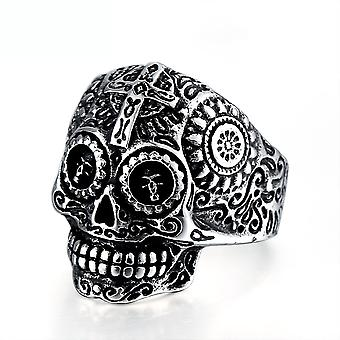 Retro Punk Cross Skull Ring Titanium Steel Finger Ring For Party