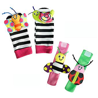 4pcs Colorful Ladybug Snail Butterfly Wrist Rattle And Foot Finder Educational Development Plush Toys