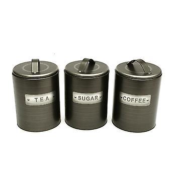 Harjattu tin-tee/kahvi/sokerikanisterit