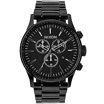 Nixon Mænds Kvarts Kronograf Ur med rustfrit stål Strap A386-001_Black
