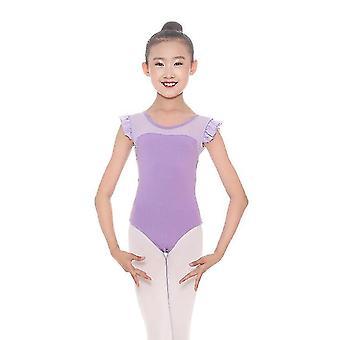 140Cm mor kızlar çift kayışlar kolsuz jimnastik bale leotard tulum atletik dans kıyafetleri x3426
