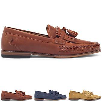 Mens H By Hudson Alloa Suede Navy Smart Tassel Office Work Wedding Shoes