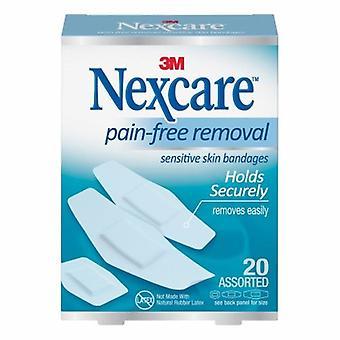 Nexcare Adhesive Strip Nexcare Sensitive Skin 7/8 X 1-1/4 Inch / 1-1/8 X 3 Inch / 15/16 X 1 - 1/8 Inch Silic, 20 Count