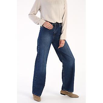 Wide Leg Pockets Zippered Denim Pants