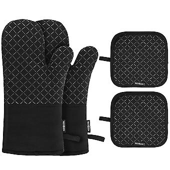 One Pair Of Bbq Oven Gloves With Heat Proof Silicon Mitts Hot Surface Handler For Kitchen