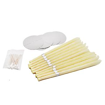 Ear Candle Beeswax Set 10pcs Aromatherapy Ear Wax Remover Indiana Earwax Candles 5pcs Earplug Trays 10pcs Cotton Sticks Healthy Therapy Ear Care Tools