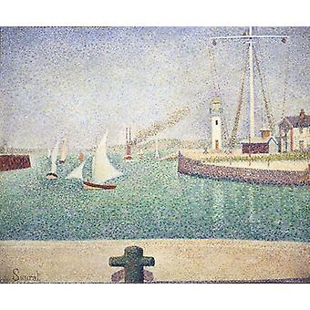 Port Of Honfleur,georges Seurat Art Reproduction.pointillism Style Modern Hd Art Print Poster,canvas Prints Wall Art For Office Home Decor Pictures