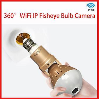 360° Wifi retrátil e27 câmera de lâmpada de olho de peixe inteligente 1080p panorâmica universal de segurança doméstica de luz dupla luz câmera de segurança noturna câmera ip
