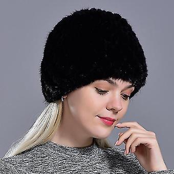 Berretto da visone naturale caldo inverno femminile (nero)