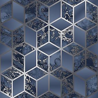 Muriva Elixir Cube Blå Sølv Tapet 166512