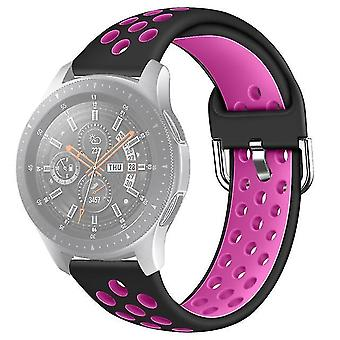 Double color silicone Strap for Galaxy Watch S3 46mm / Huawei GT 1/2 22mm size S Black + Rose Purple