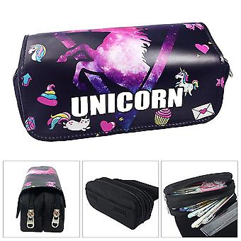 Unicorn double-layer pencil case for children with large capacity(Color-3)