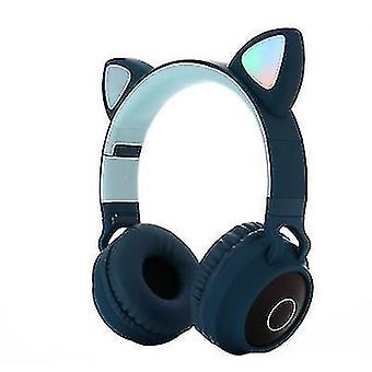Luminous head-mounted bluetooth headset, cat ear wireless Foldable bluetooth headset(Blue)