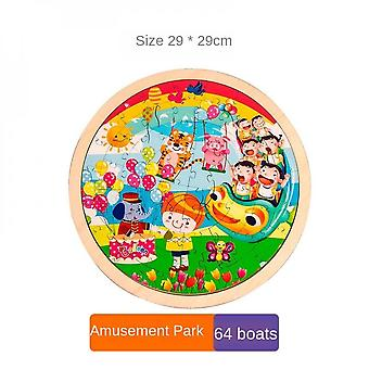 3-7 Years Old Children's Round Wooden Educational Educational Toys-(amusement Park)