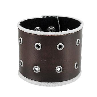 Brown Leather Brass Grommet Wristband