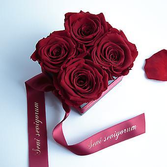 Dark red and satin ribbon roses preserved Seni Seviyorum box with 4 shelf life 3 years