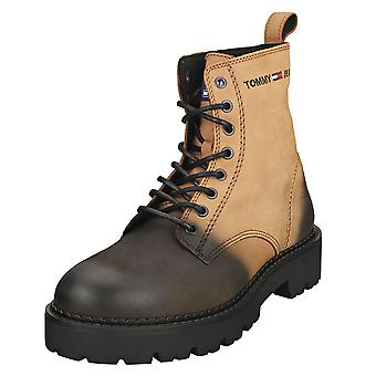 Tommy Jeans Lace Up Brushed Mens Classic Boots en Cracked Earth Black