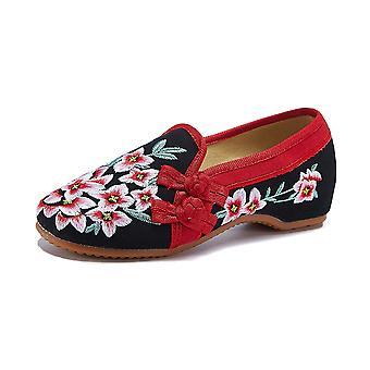 Women's Chinese Retro Ethnic Embroidered Low Heel Flat Elevator Cheongsam Dress Shoes