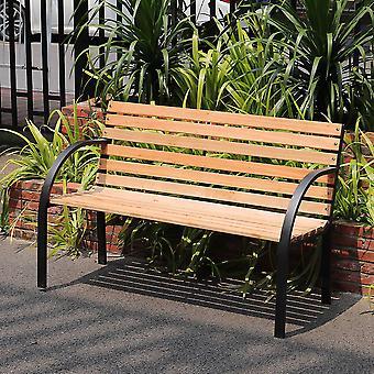 125cm Outdoor Garden Bench Patio Wooden Seat Armrest Chair