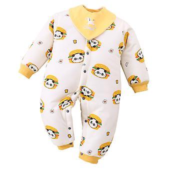 כותנה בייבי Onesies התינוק מרוכסן בגדים מעבים חמוד דוב חם romper