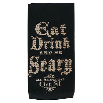 Eat Drink and Be Scary All Hallows Eve Halloween 26 Inch Kitchen Terry Towel