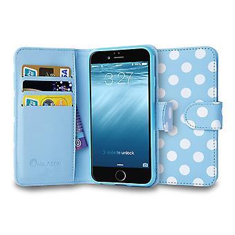 iPhone 6 4.7 tapauksessa i-Blason, Leatherbook lompakon tapaus-Dalmation/sininen